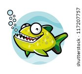 cartoon of green piranha was... | Shutterstock .eps vector #117207757