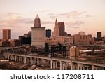Cleveland - high angle view. Taken with tobacco filter - stock photo