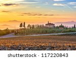 Tuscany landscape at sunrise, Italy - stock photo