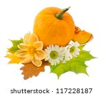 Ripe Pumpkin With Dry Leaves...