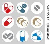 medical pills icons set  vector. | Shutterstock .eps vector #117238597