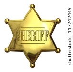 Golden sheriff's badge - isolated on white - stock photo