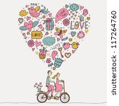 Romantic concept. Couple in love on tandem bicycle. Cute cartoon vector illustration - stock vector
