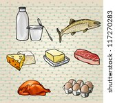 colorful food icons set   milk  ... | Shutterstock .eps vector #117270283