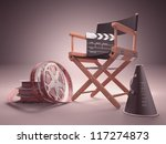 Objects of the film industry, the concept of cinema. - stock photo