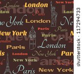 retro seamless with city names... | Shutterstock .eps vector #117294733