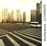 The century avenue of  street scene in shanghai Lujiazui,China. - stock photo