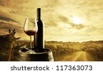 red wine bottle and wine glass... | Shutterstock . vector #117363073