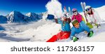 skiing  winter  snow  sun and... | Shutterstock . vector #117363157