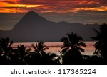 View on mountain Orohena at sunset. Polynesia. Tahiti. - stock photo