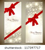 greeting cards with red bows... | Shutterstock .eps vector #117397717
