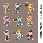 express delivery people stickers | Shutterstock .eps vector #117403153