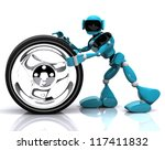 3d illustration of a blue robot and wheel on white background - stock photo