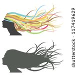Fluttering hair on woman dummy. Silhouette and colorful version. - stock vector