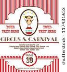 Cute Circus Card Design. Vecto...