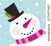 Cute Happy Snowman Face With...