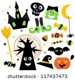 halloween elements set isolated ... | Shutterstock .eps vector #117437473