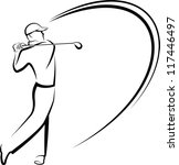 Golfer Teeing Off Stylized