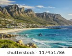 The beautiful city of Cape Town, with its gorgeous mountains white sand beaches and clear blue water - stock photo
