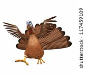 Scared Toon Turkey: A cartoon turkey running scared with his wings in the air. Isolated on a white background. - stock photo
