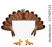 Toon Turkey Sign: A smiling cartoon turkey holding a blank sign. Isolated on a white background. - stock photo