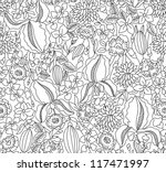 Hand Drawing Black Floral...