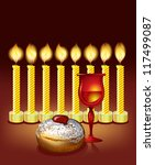 hanukkah background with candles, donuts, glass of wine - stock vector