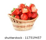 Basket Of Strawberries On Whit...