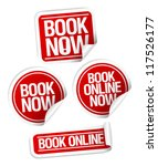 book now stickers set. | Shutterstock .eps vector #117526177