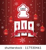 Vector Chef card design with christmas concept - stock vector