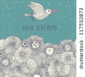 Cute floral romantic background with nice bird in vintage style - stock vector