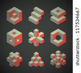 vector retro cube icons set | Shutterstock .eps vector #117534667