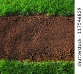 soil and grass background closeup - stock photo