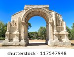 Roman City of Glanum, Triumphal Arch, Saint-Remy-de-Provence, France - stock photo