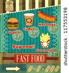 Vintage Fast Food Menu - the food on  grunge background with labels for price - vector illustration - stock vector