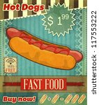 Grunge Cover for Fast Food Menu - hot dog on vintage background with place  for price and  sign of free Wi-Fi - vector illustration - stock vector