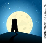 Glastonbury Moonrise, EPS10 Vector - stock vector