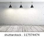 poster in room with ceiling lamp - stock photo