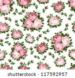 seamless pattern with pink... | Shutterstock .eps vector #117592957