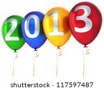 New Year 2013 balloons party celebrate decoration. New Year's Eve calendar date beautiful greeting card. Detailed 3d render. Isolated on white background. - stock photo