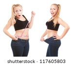 before and after a diet  girl... | Shutterstock . vector #117605803