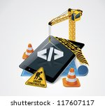 Vector website construction icon - stock vector