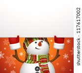 snowman holding banner - stock photo