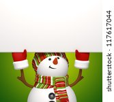 snowman holding banner up - stock photo