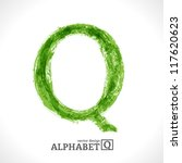 grunge vector letter. green eco ... | Shutterstock .eps vector #117620623
