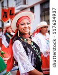 PUJILI, ECUADOR - 25 JUNE : indigenous woman in traditional costume, Inti Raymi festivities, 25 June 2011 PUJILI, ECUADOR - stock photo