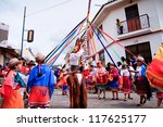PUJILI, ECUADOR - 25 JUNE : indigenous group dancing around pole in traditional costume, Inti Raymi festivities, 25 June 2011 PUJILI, ECUADOR - stock photo