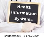 Doctor shows information: health information systems - stock photo