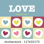 love card with cute hearts - stock vector