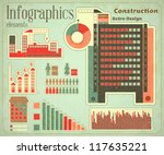 Construction - elements Infographics for presentations in Retro style - Construction Icons and graphics - vector illustration - stock vector